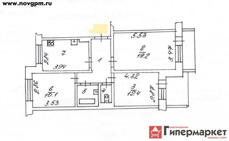 Великий Новгород, Коровникова улица, 4: 3-комнатную квартиру, 64.3/41.7/10.6 м, 7/9 панельный, 3'100'000 руб., продам