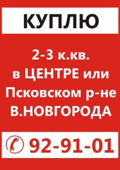 Куплю 2-3-х комнатную квартиру в Центре или во Псковском раионе Великого Новгорода, т. 8-921-731-91-01